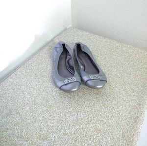Coach Dora Silver Leather Flat Shoes